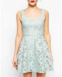 ASOS - Green Applique Mesh Lantern Skirt Dress - Lyst