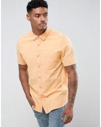ASOS - Regular Fit Textured Shirt In Orange for Men - Lyst