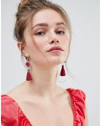 ASOS - Embroidered Disc And Tassel Earrings - Lyst