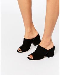 ASOS Black Highland Heeled Mules