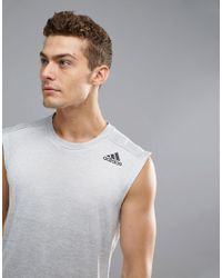 Adidas - Gray Training Sleeveless T-shirt In Gradient In Grey Cd9002 for Men - Lyst