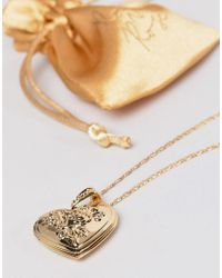 Rock N Rose - Metallic Gold Plated Heart Locket Necklace - Lyst