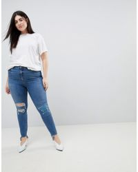 ASOS - Blue Asos Design Curve Ridley High Waist Skinny Jeans In Extreme Mid Wash With Busted Knee And Rip & Repair Detail - Lyst