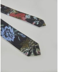 ASOS - Black Winter Floral Tie for Men - Lyst