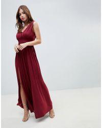 c9cf4e621233 ASOS Asos Premium Fuller Bust Lace Insert Pleated Maxi Dress in Red ...