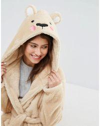 ASOS - Brown Teddy Bear Robe - Lyst