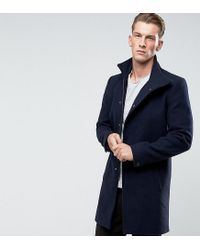 Only & Sons - Blue Funnel Neck Overcoat for Men - Lyst