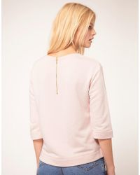 Mango - Pink Sweat Top With Zip Back - Lyst