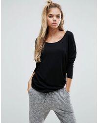 ASOS - Black Long Sleeve Curve Hem T-shirt - Lyst