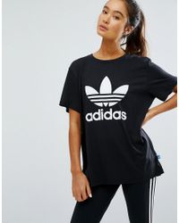 adidas Originals. Women's White Originals Adicolour Oversized T-shirt With Trefoil  Logo