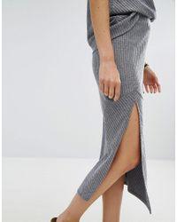 MINKPINK - Blue Move Rib Knit Skirt - Lyst