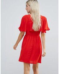 ASOS - Red Flutter Sleeve Cross Over Mini Dress - Lyst