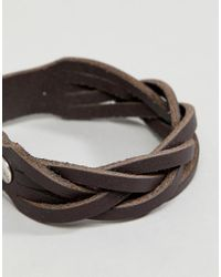 ASOS - Brown Design Leather Plaited Bracelet With Buckle Fastening - Lyst