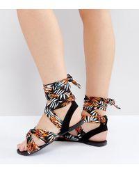 New Look - Orange Patterned Sandal - Lyst