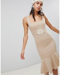 ASOS - Natural Pencil Dress With Contrast Buckle - Lyst