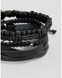 Icon Brand - Leather & Woven Bracelet Pack In Black for Men - Lyst