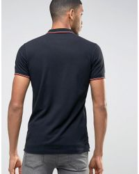 DIESEL Black T-skin Slim Fit Pique Tipped Polo for men
