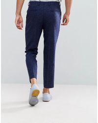 ASOS - Blue Asos Slim Crop Smart Pants In Navy Texture for Men - Lyst