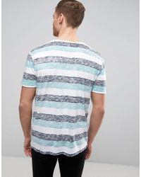 Esprit - Blue Reverse Stripe T-shirt With Raw Edges for Men - Lyst