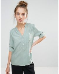 B.Young - Green Collarless 3/4 Sleeve Shirt - Lyst