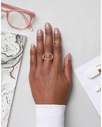 Pieces - Metallic Maria Rose Gold Stacking Rings - Lyst