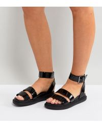 54fe4708ad43 ASOS Asos Flock Wide Fit Chunky Flat Sandals in Black - Lyst