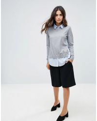 French Connection - Gray Mix It Shirt Sweater - Lyst