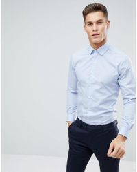 4ffe71a68a8662 French Connection Plain Poplin Slim Fit Shirt in Blue for Men - Lyst
