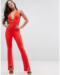 ASOS | Red Jersey Jumpsuit With Halter Neck And Plunge Detail | Lyst