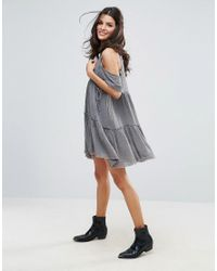 Free People - Gray Gauze Indus Cold Shoulder Dress - Lyst