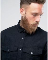 ASOS Black Linen Mix Overshirt With Poppers for men