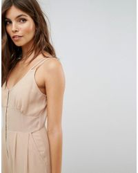 ASOS - Brown Jumpsuit In Chiffon With Corset Bodice - Lyst