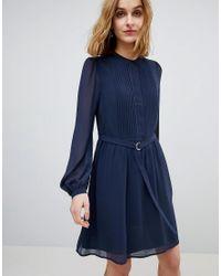 Warehouse - Blue Chiffon Shirt Dress - Lyst
