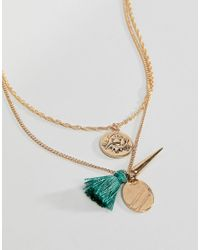 ASOS - Metallic Asos Coin Charm And Tassel Pendants Necklace - Lyst