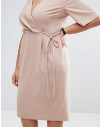 ASOS - Natural Midi Wrap Dress With Tie Detail - Lyst
