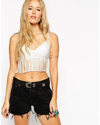 ASOS | White Festival Crop Top In Lace With Fringing | Lyst