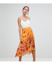 5095accef8 Women's Orange Asos Design Petite Satin Wrap Midi Skirt In Floral Print