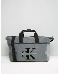 Calvin Klein - Gray Logo Grey Weekend Bag - Grey - Lyst