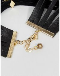 Vanessa Mooney - Black Leather Layered Choker With Gold Plating - Lyst