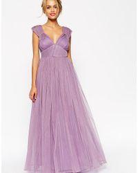 ASOS - Purple Wedding Ruched Mesh Panel Maxi Dress - Lyst