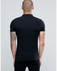 ASOS   Black Extreme Muscle Polo With Chest Print for Men   Lyst