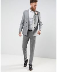 ASOS - Gray Wedding Slim Sateen Shirt In Grey for Men - Lyst