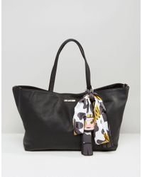 Love Moschino Women S Black Per Bag With Detatchable Cow Scarf