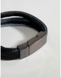 Icon Brand - Black Leather Bracelet for Men - Lyst