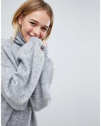 Monki - Black High Neck Knitted Sweater - Lyst