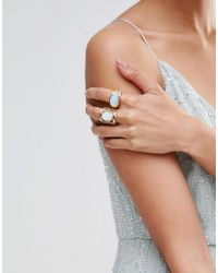 Missguided - Metallic Moon Stone Ring Two Pack - Lyst