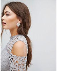 True Decadence - Metallic Oval Embellished Stud Statement Earrings - Lyst