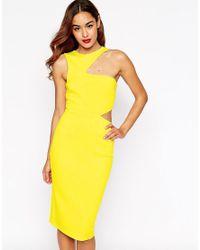 ASOS | Yellow Cut Out Asymmetric Bodycon Dress | Lyst