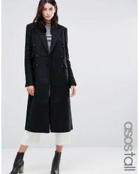 ASOS   Black Double Breasted Slim Maxi Coat   Lyst
