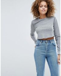 ASOS - Blue Top In Washed Waffle Stripe And Long Sleeve - Lyst